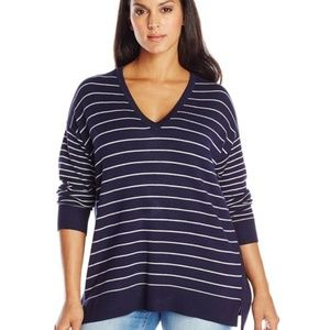 Vince Camuto Sweater Make an Offer Striped Navy